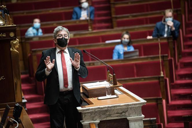 Jean-Luc Mélenchon, évoque la vidéo d'un youtubeur d'extrême droite et l'appel au meurtre dont il se dit victime, à l'Assemblée nationale, le 7 juin.