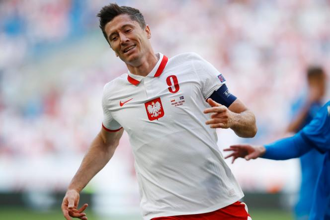 Robert Lewandowski, lors de la rencontre amicale entre la Pologne et l'Islande le mercredi 8 juin.