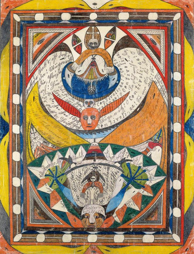 Œuvre d'Adolf Wölfli datant de 1916, mine de plombet crayon de couleur sur papier, inscriptions au dos.