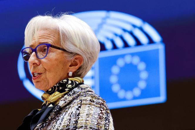 La présidente de la Banque centrale européenne, Christine Lagarde, au Parlement européen de Bruxelles, le 8 février 2021.