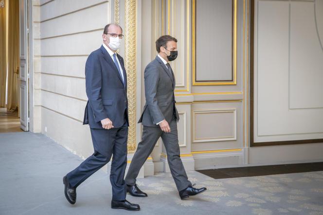 Jean Castex et Emmanuel Macron, à l'Elysée, mercredi 9 juin 2021.