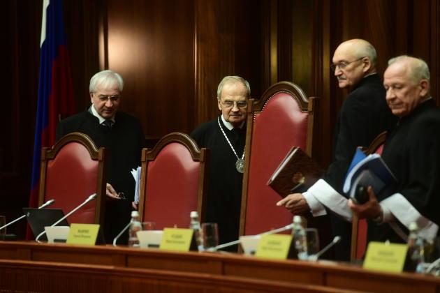 Les juges de la Cour constitutionnelle, à Saint-Pétersbourg (Russie), en octobre 2019.