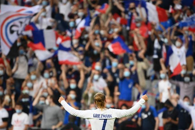 Antoine Griezmann, célébrant après avoir marqué le 8 juin contre la Bulgarie.