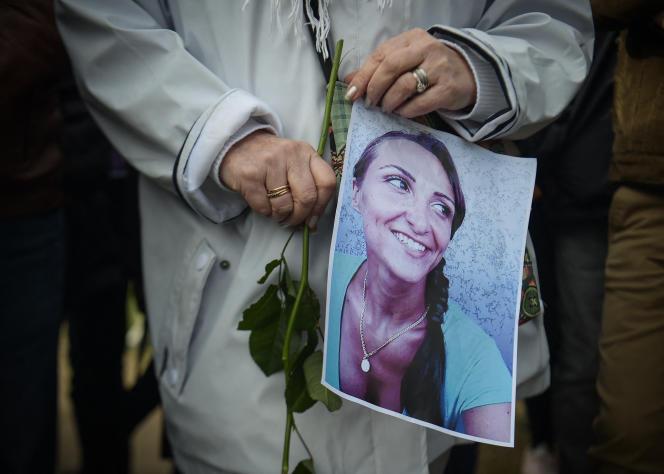Hommage à Julie Douib, dans saville natale de Vaires-sur-Marne (Seine-et-Marne), le 9 mars 2019.
