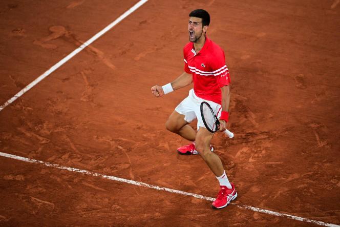 Novak Djokovic, lors de son quart de finale de Roland-Garros face à Matteo Berrettini.