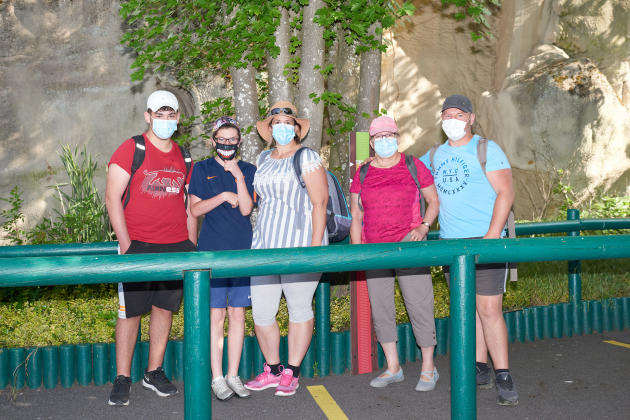 Eddy, Céline and their family in the queue for an attraction at Parc Astérix, in Plailly (Oise), on June 9, 2021.