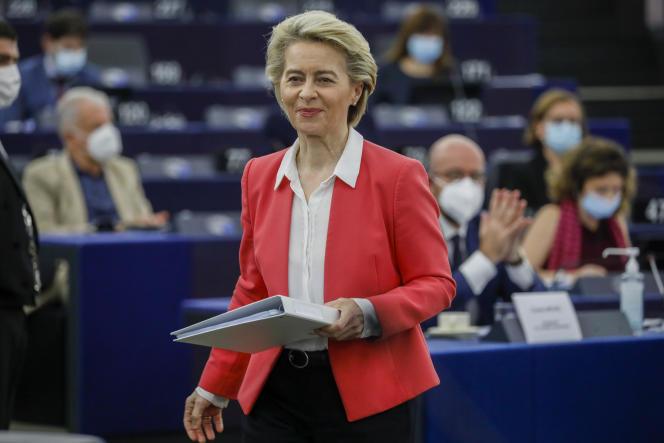 Ursula von der Leyen, la présidente de la Commission européenne, à Strasbourg, le 9 juin 2021.