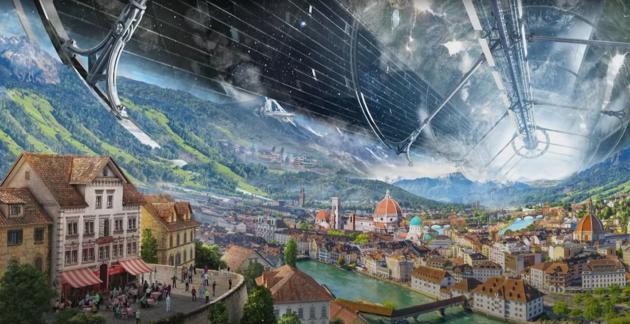 Vue d'artiste d'une colonie spatiale, créée par Blue Origin et montrée par son fondateur Jeff Bezos, en mai 2019.