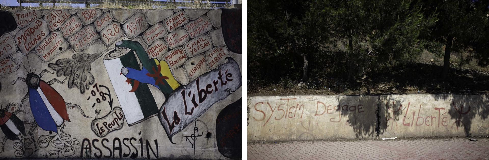 Graffitis, commune de Béni Maouche, Béjaïa, Algérie, le 10 juin 2021