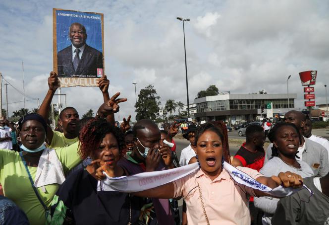 Des partisans de Laurent Gbagbo manifestent à Abidjan, le 31août 2020.