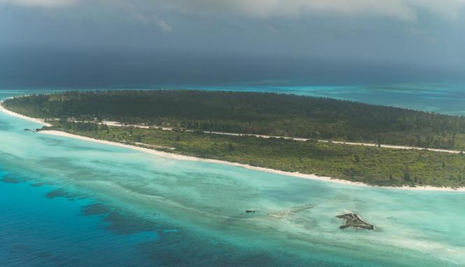 L'île française Grande Glorieuse, qui fait partie des îles Glorieuses, dans l'archipel des Eparses, est située à 250 km au nord-est de Mayotte, dans l'océan Indien. Ici, le 23octobre 2019.