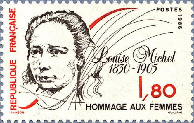 « Louise Michel», timbre-poste paru en 1986, dessiné par Huguette Sainson, gravé en taille-douce par Cécile Guillame.
