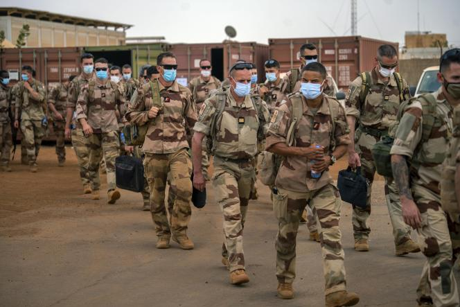 French soldiers from Operation Barkhane leave their base in Gao, Mali, on June 9, 2021.