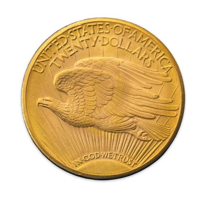 Revers du« Double Eagle» de 1933, plus de 15 millions d'euros aux enchères le 8 juin.