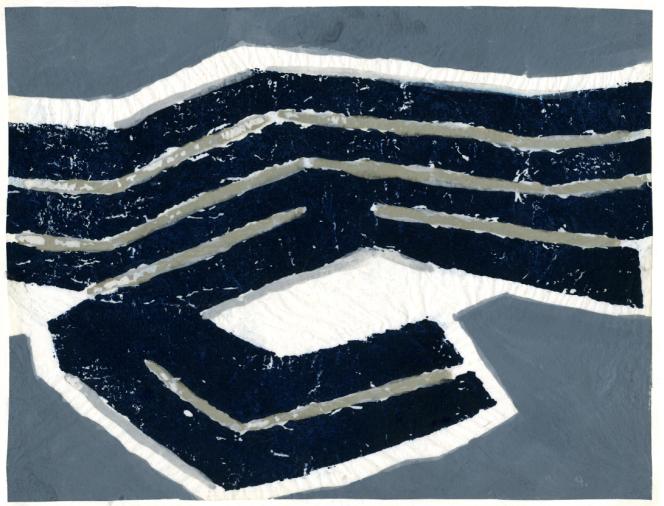 Raoul Ubac, oeuvre originale, maquette du timbre paru en 1980, aquarelle sur papier fil de soie.