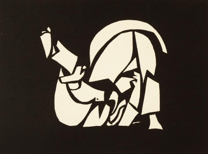 « Judo III», de Jacques Jubert, linogravure, 1979.