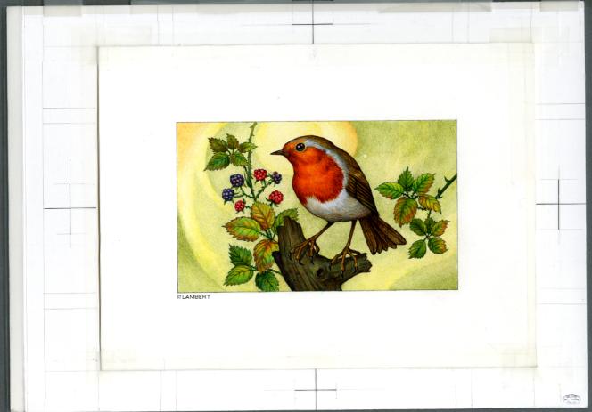 Pierrette Lambert,« Rouge-gorge», projet de timbre-poste, aquarelle sur papier (1996).