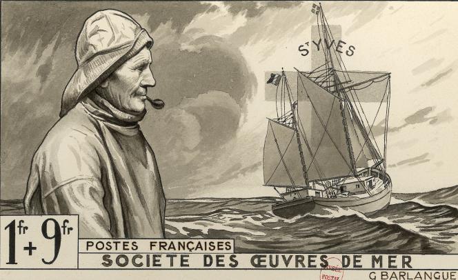 Gabriel-Antoine Barlangue, « Société des œuvres de mer ». Projet refusé du timbre-poste paru en 1941. Aquarelle et encre sur papier.