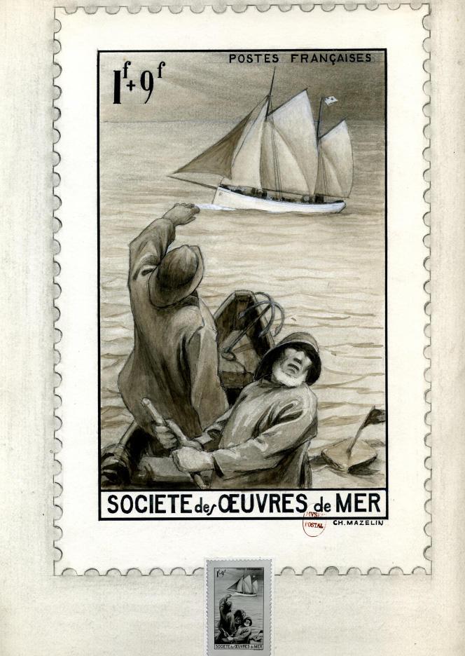 Charles Mazelin, « Société des œuvres de mer ». Projet refusé du timbre-poste paru en 1941. Aquarelle, encre et crayon sur papier.