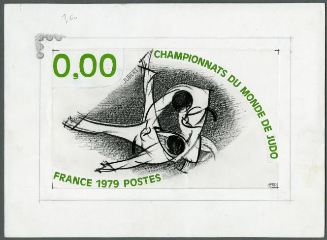 Jacques Jubert,« Championnats du monde de judo», maquette du timbre paru en 1979, crayon et gouache sur papier.