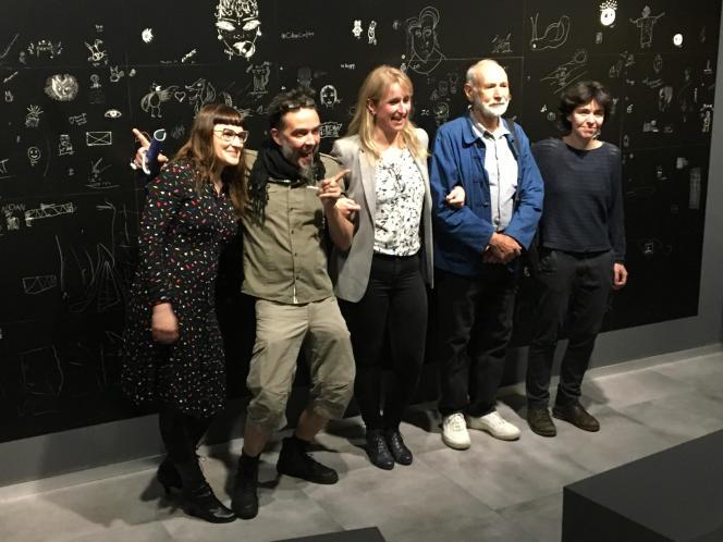 De gauche à droite: Ciou, Thierry Mordant, Monika Nowacka, Jacques Jubert, Sarah Bougoault, au Musée de La Poste.