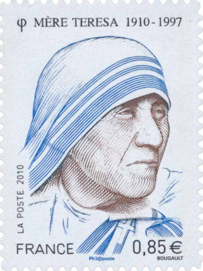 « Mère Teresa», dessin et gravure en taille-douce de Sarah Bougault. Timbre émis en 2010.