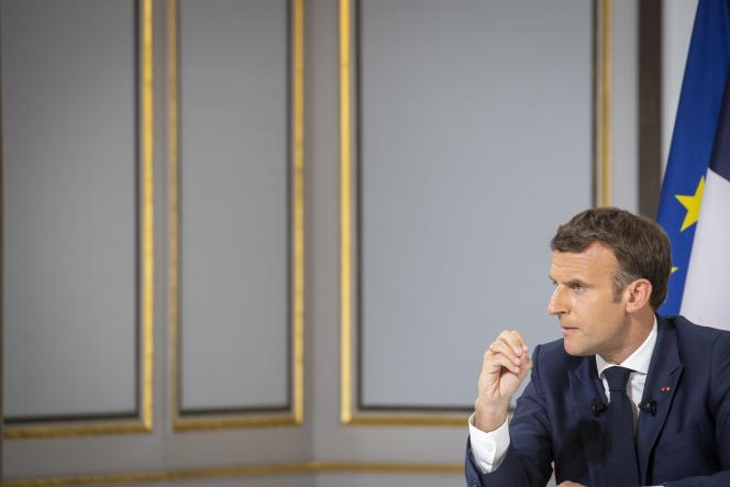 Emmanuel Macron, lors d'une conférence de presse avant les sommets du G7 et de l'OTAN, à l'Elysée, le 10 juin 2021.