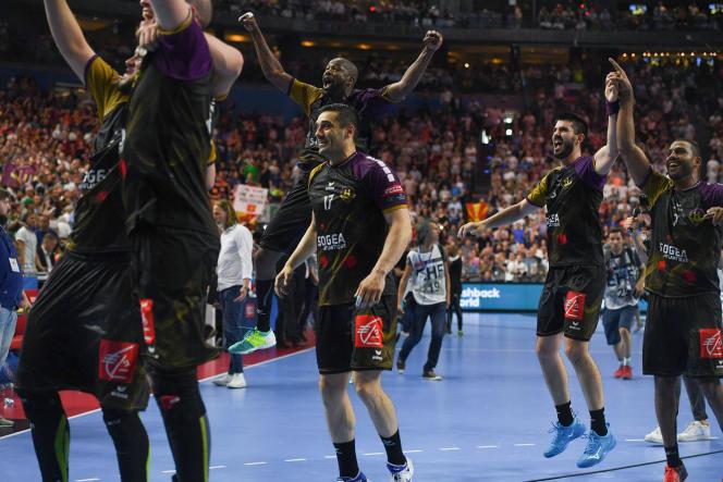 Les joueurs du HBC Nantes, après leur victoire en 2018 en demi-finale de Ligue des champions contre le PSG.