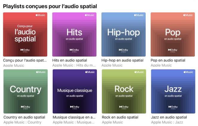 Apple propose huit best of thématiques qui contiennent uniquement des titres en Dolby Atmos.