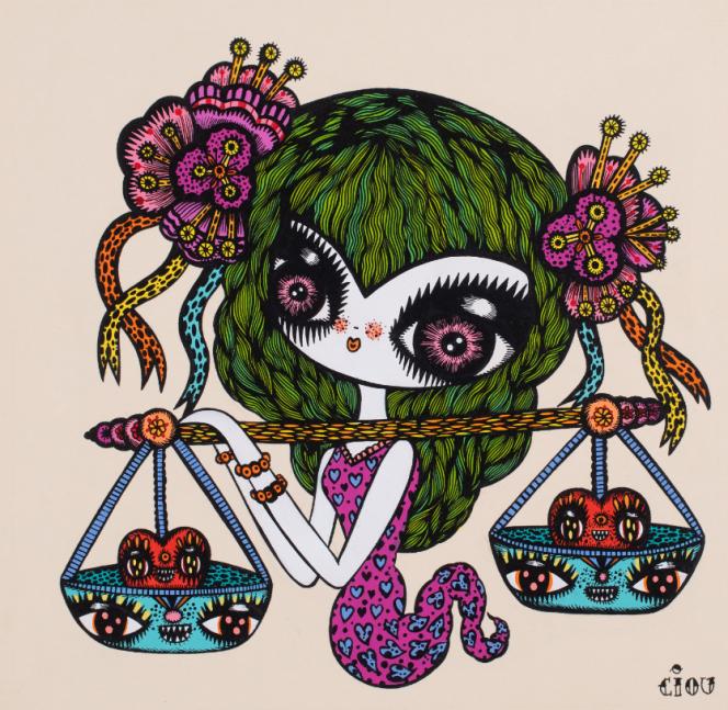 « Féérie astrologique. Balance», encre et acrylique sur papier, maquette du timbre pru en 2014.