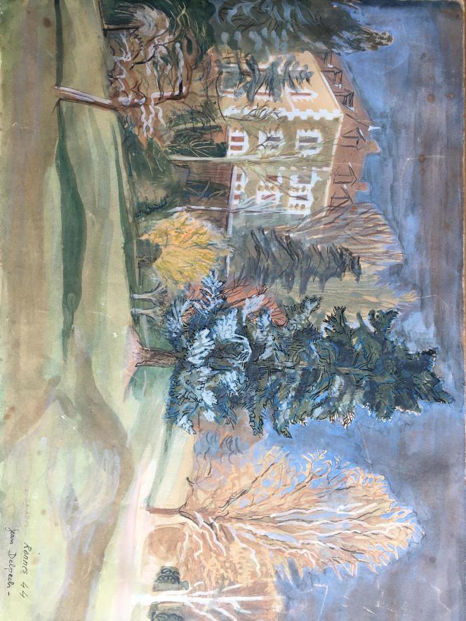 Oeuvre sur papier de Jean Delpech, qui enseigna aux Beaux-arts de Rennes.