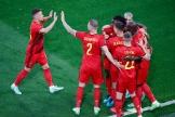 Lukaku célèbre son but avec ses coéquipiers belges.