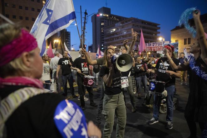 Une manifestation devant la résidence de Benyamin Nétanyahou, à Jérusalem, samedi 12juin2021.