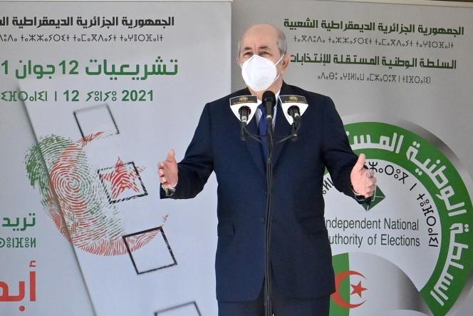 Le président algérien Abdelmadjid Tebboune, à Bouchaoui, en Algérie, le 12 juin 2021.