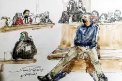 Dessin de presse du procès deNourredine Allam, le 7 juin 2021.
