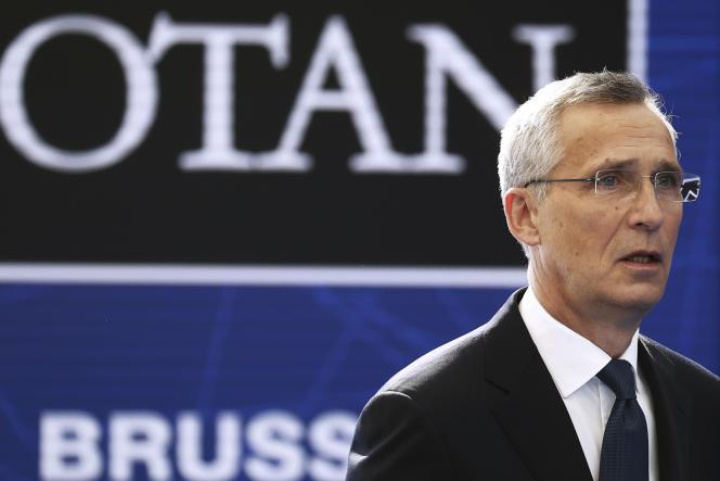 Le secrétaire général de l'OTAN, Jens Stoltenberg, à son arrivée au sommet de Bruxelles, lundi 14 juin 2021.
