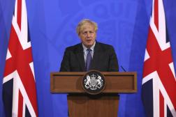 Le premier ministre britannique, Boris Johnson, lors d'une conférence de presse à Downing Street, à Londres, le 14juin2021.