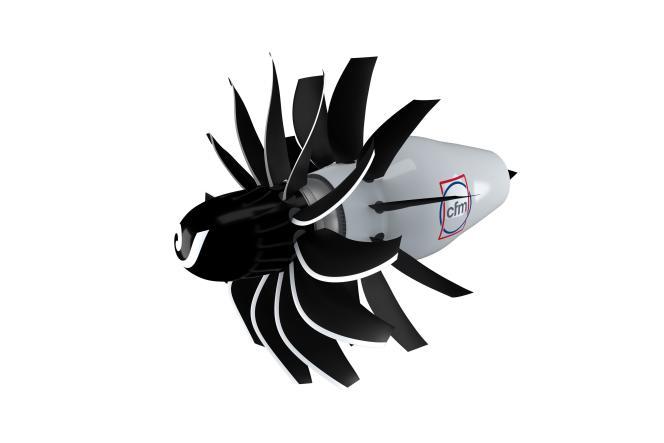 Modélisation du futur moteur que vont développer Safran et GE Aviation dans le cadre du programme RISE (Innovation révolutionnaire pour des moteurs durables), le 14 juin 2021.