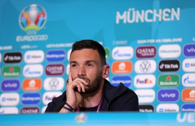 Le gardien et capitaine de l'équipe de France, Hugo Lloris, le 14 juin lors d'une conférence de presse à Munich.
