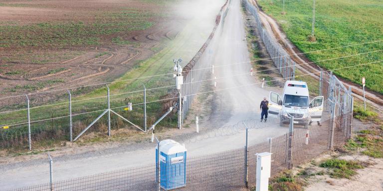 HUNGARY. Gara 10.2019  Border fence at between Hungary and Serbia