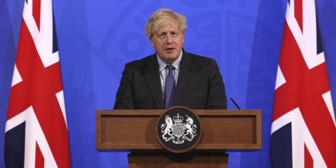 Le premier ministre britannique, Boris Johnson, lors d'une conférence de presse à Downing Street, à Londres, lundi 14 juin 2021.