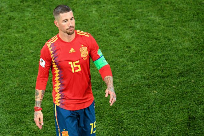 Le défenseur de l'équipe d'Espagne, Sergio Ramos, le 25 juin 2018.