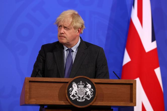 Le premier ministre britannique, Boris Johnson, lors de sa conférence de presse lundi 14 juin 2021 à Londres.