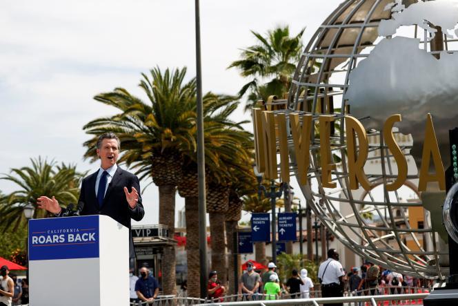 Le gouverneur de Californie, Gavin Newsom, à Universal Studios, à Los Angeles, Californie, le 15juin 2021.