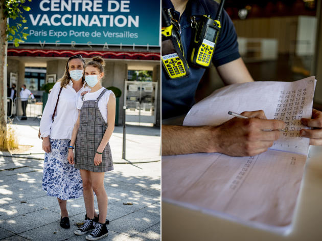 Constance Neltner, 14, and his mother Caroline in front of the vaccination center in Porto de Versailles.  At the entrance, a firefighter counts the candidates.