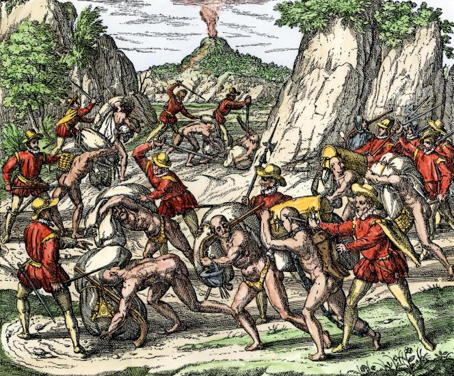 Conquistadores maltraitant ou massacrant des Amérindiens réduits en esclavage, gravure du XVIe siècle.