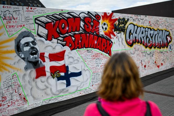Une fresque en hommage à Christian Eriksen, le 15 juin à Copenhague.