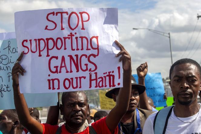 Une manifestation contre le soutien aux gangs à Port-au-Prince, en Haïti, le 10décembre 2020.