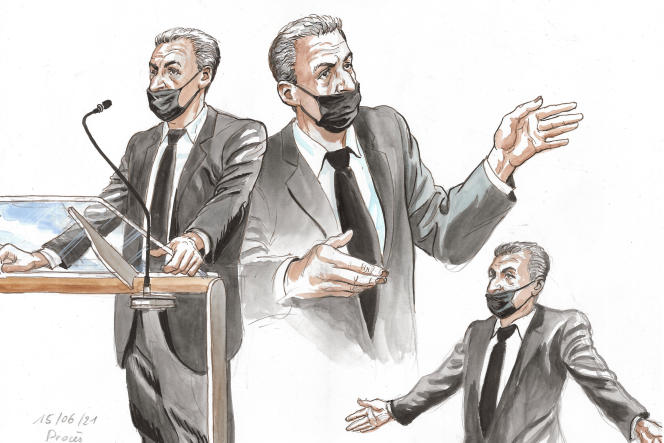 Nicolas Sarkozy à la barre, le 15 juin 2021 à Paris.