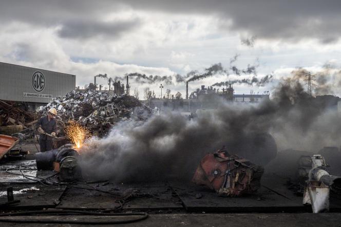 Une usine de recyclage de pièces métalliques, àSalaise-sur-Sanne (Isère), en septembre 2018.